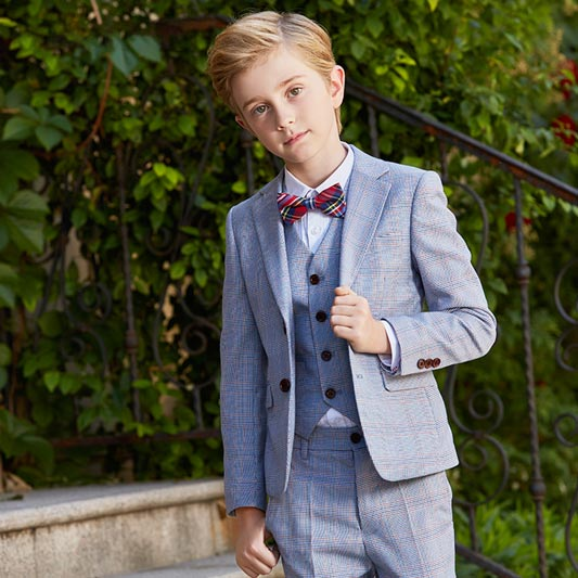 Boys Suit Classic 2 Button Plaid 5 Pieces Fit Suits (T16018)