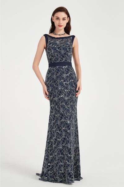 eDressit Blue Illusion Neck Lace Applique Elegant Party Evening Dress (02202405)