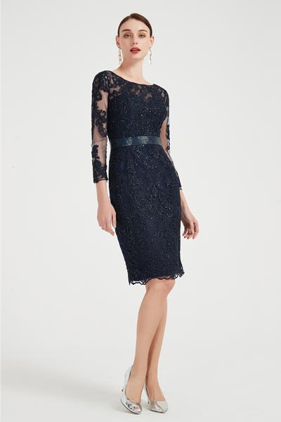 eDressit Dark Blue Sparkle Lace Party Mother of Bride Dress (26200505)