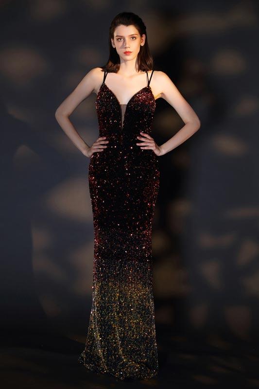 eDressit Sexy V-Ausschnitt Farbverlauf Pailletten Partykleid(00201356)