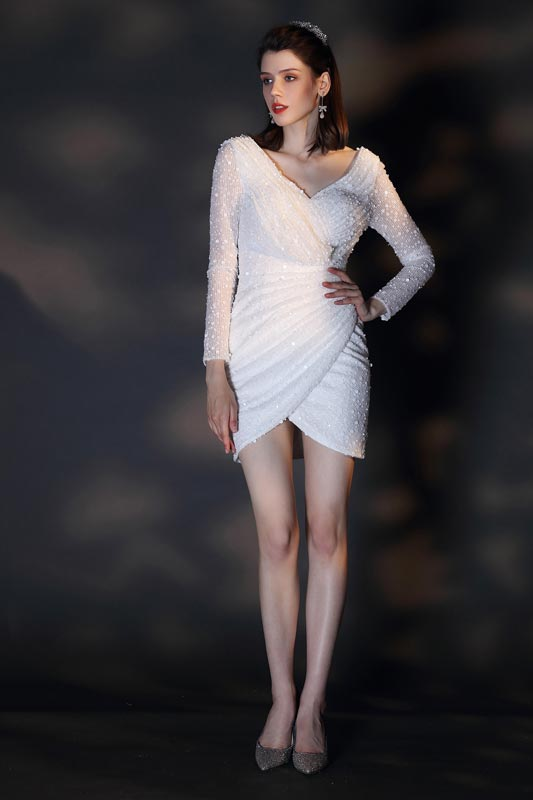 eDressit New White V-Cut Long Sleeves Short Party Dress (03200807)