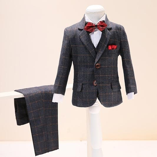 New Kid Boys 3 Piece Wool Mix Tweed Suit (T16003)