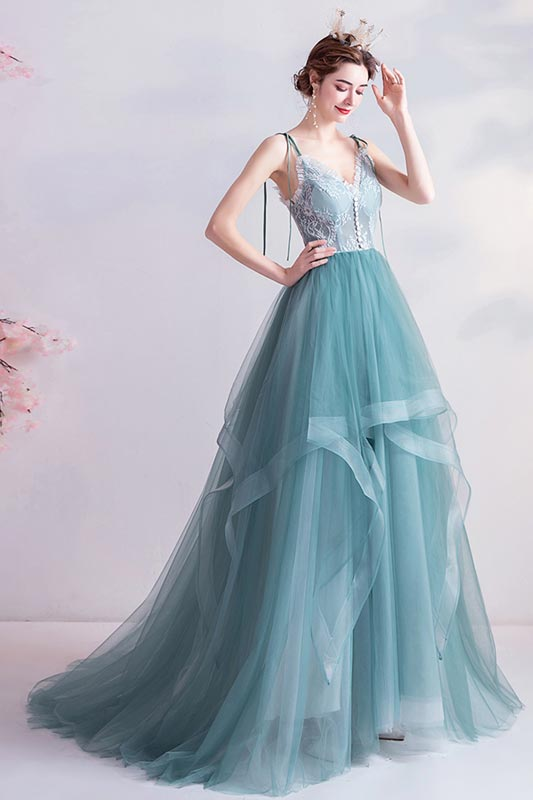 eDressit Sexy Green V-Cut Spaghetti Tulle Party Ball Dress (36226404)
