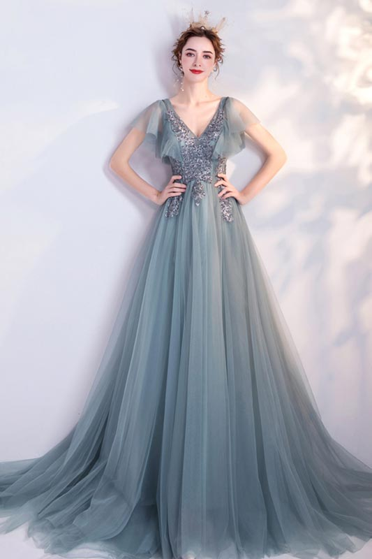 eDressit Lovely Green Cap Sleeves V-Cut Embroidery Party Prom Dress (36227404)