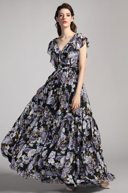 eDressit V-Cut Flash Sleeves Printed Summer Party Evening Dress (00206868)