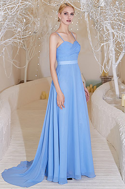 Blue Spaghetti V-Cut  Bridesmaid Evening Dress-eDressit (00200305)