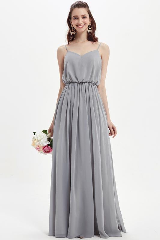 eDressit Grey V-Cut Spaghetti Long Chiffon Bridesmaid Dress (07218608)