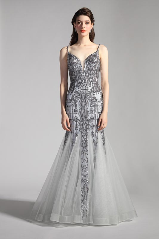 eDressit Sexy Grey V-Cut Spaghetti Beaded Mermaid Party Evening Dress (02205608)
