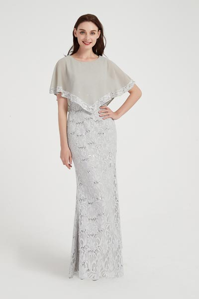 eDressit Grey Cape Top Lace Applique Party Ball Dress (26201108)