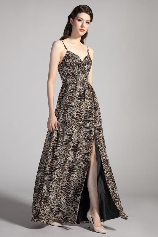 eDressit Spaghetti Straps V-Cut Printed Leopard Party Dress (00206468)