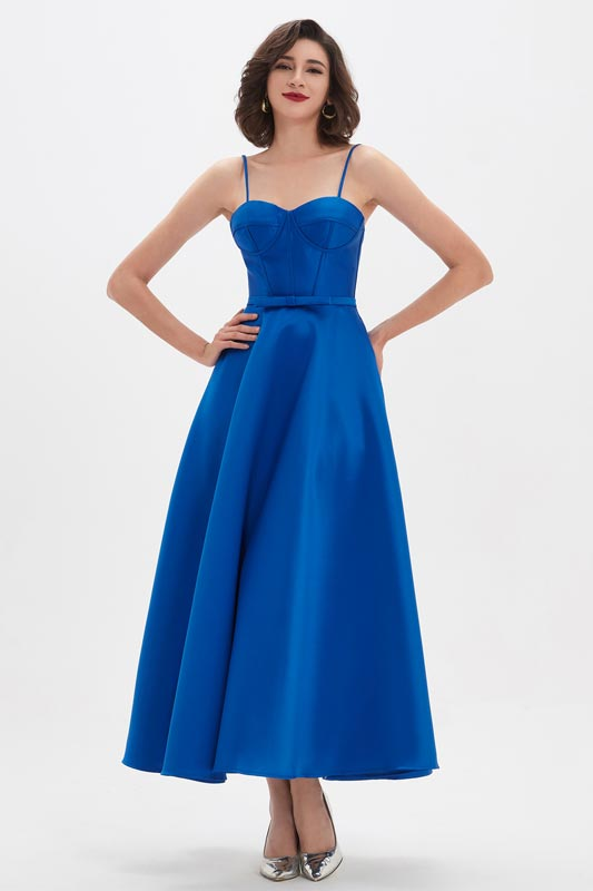 eDressit Royal Blue Spaghetti Polyester Bone Tea Length Party Dress (04210605)