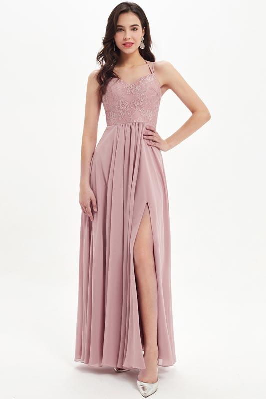 eDressit Sexy Halter V-Cut High Slit Lace Bridesmaid Dress (07214801)