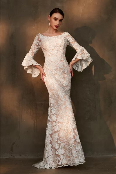 eDressit White Trumpet Sleeves Lace Applique Wedding Dress (01201007)