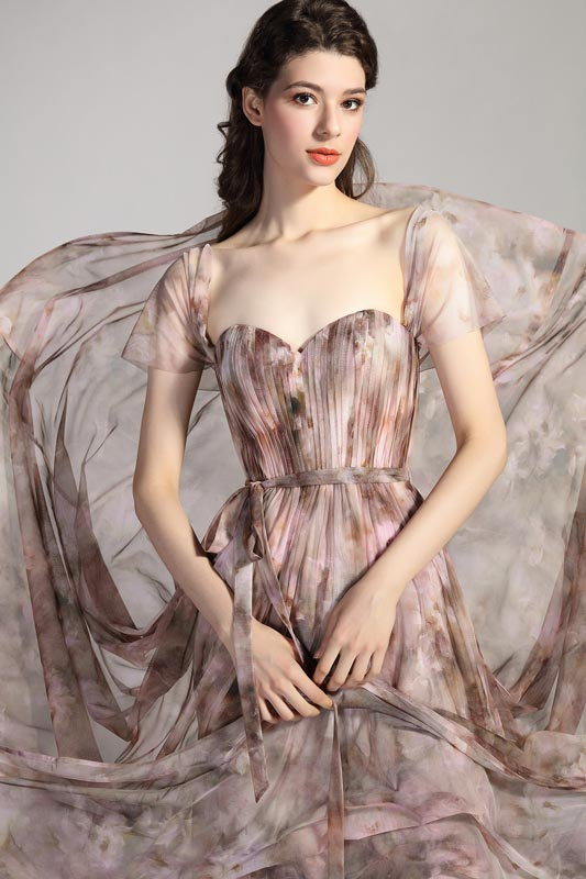 eDressit New Printed Fabric Cap Sleeves Party Evening Dress (00206368)