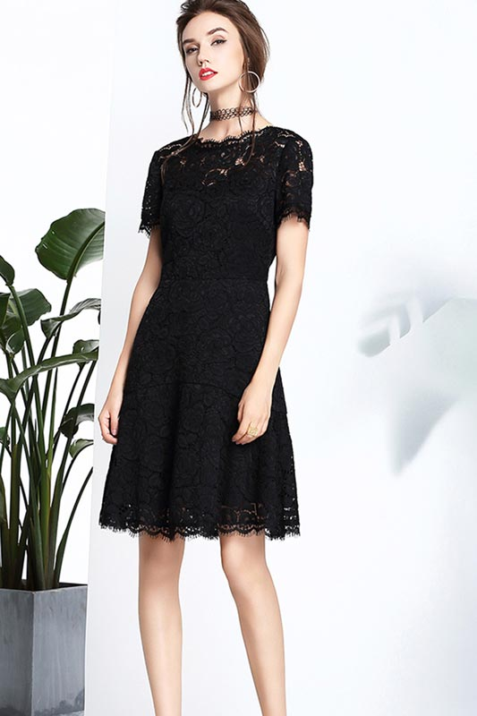 eDressit New Black Round Neckline Short Sleeves Elegant Dress (T000400)