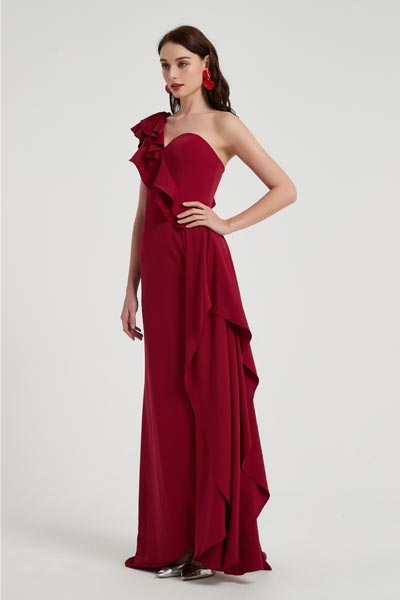 eDressit Burgundy One Ruffle Shoulder Slit Party Evening Dress (00201117)