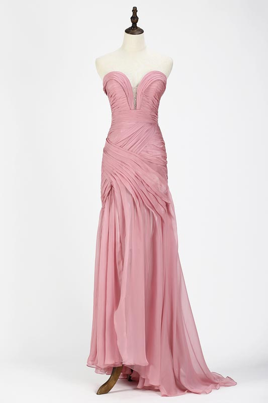eDressit Rose Pink Chiffon Ruched bodice Evening Dress (00120546)