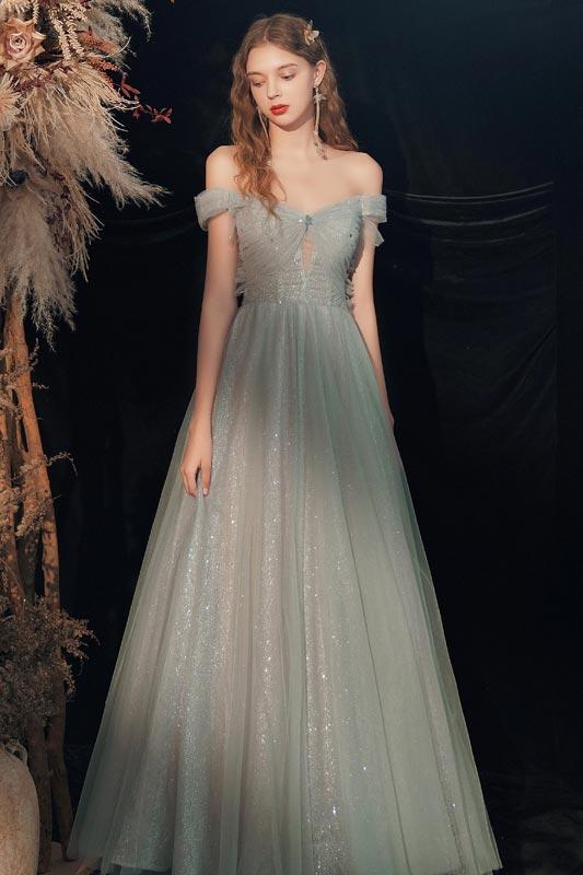 Women Off-shoulder Shiny Evening Party Maxi Dress Bridesmaid Dress (T072101)