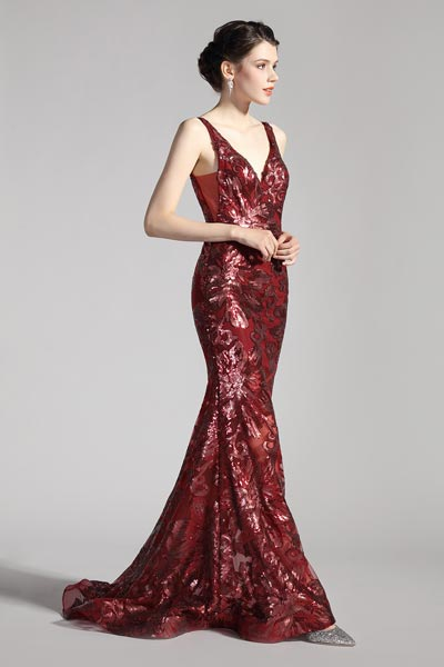 eDressit New V-Cut Burgundy Embroidery Mermaid Party Dress (00208517)