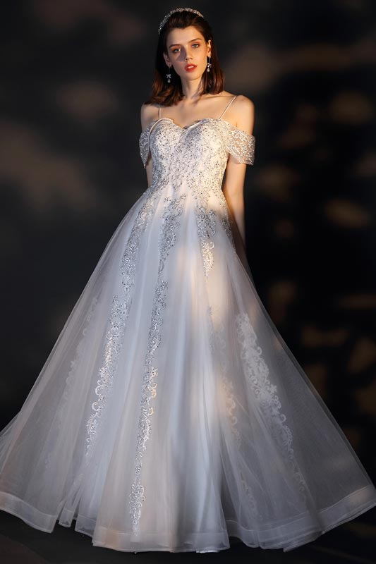 eDressit Spaghetti Off Shoulder Lace Tulle Wedding Bridal Dress (01201807)