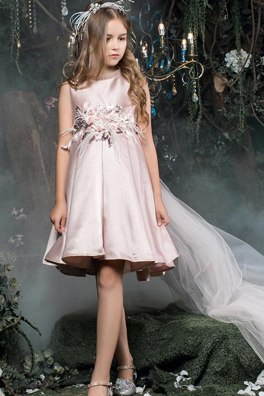 New Sleeveless Short Beads Delicate Flower Girl Dresses (T27013)