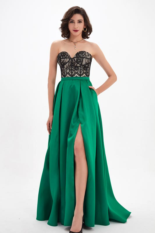 eDressit Black&Green Sweetheart V-Cut Lace High Slit Evening Dress (00210404)