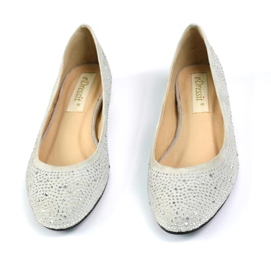 Women Shiny Beadings Toe Closed Pointed Flat Shoes (0920001)
