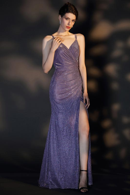 eDressit Sexy Spaghetti V-Cut High Slit Shiny Party Evening Dress (02204706)
