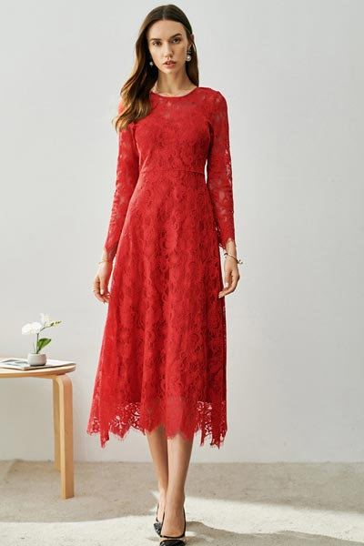 Red Round Neck Long Sleeves Lace Dress Day Wear (T002702)