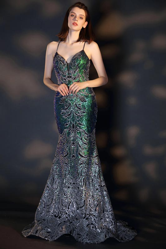 eDressit Spaghetti V-Cut Open Back Shiny Sequins Evening Dress (02205468)