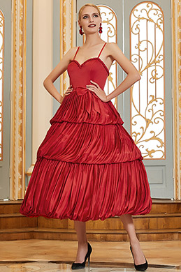 eDressit Red Spaghetti Straps Sweetheart Ruffle Dancing Party Dress (04200302)