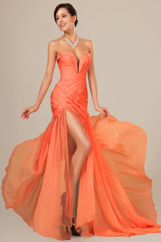 eDressit Best Selling Orange Chiffon Ruched bodice Evening Dress (00120510)