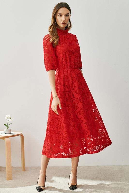 Red High Neck Half Sleeves Tea Length Daydress / Partydress (T001902)