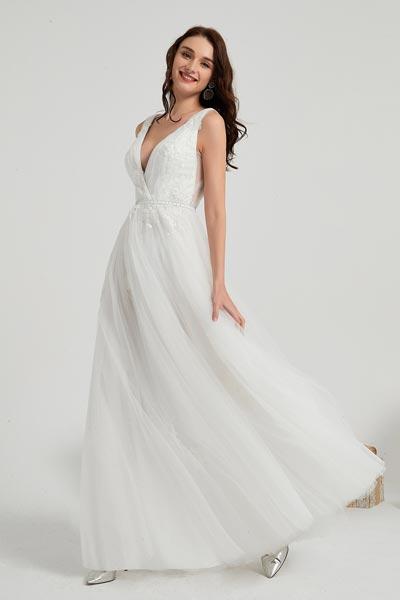 eDressit Robe de Mariée Longue En Tulle à V Col en Dentelle (01200307)