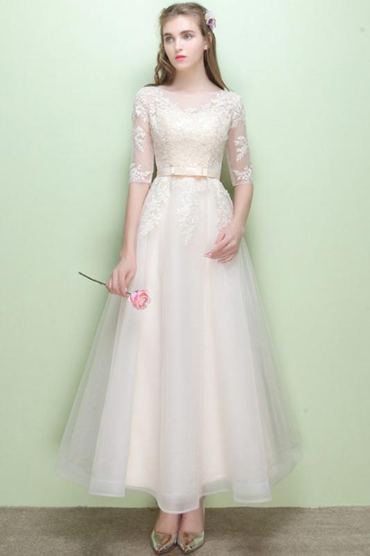 Women's Formal Floral Lace Wedding Bridesmaid Dress (T070001)
