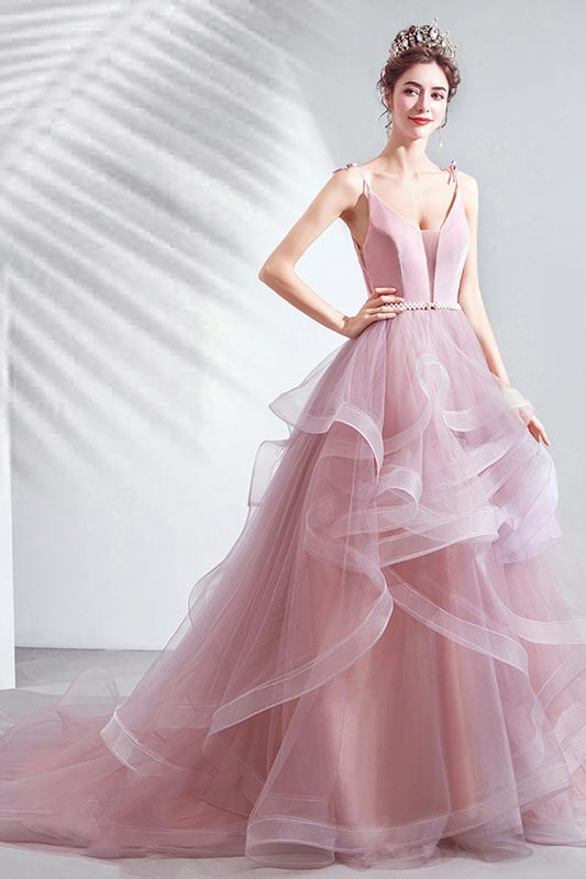 eDressit Sexy Pink V-Cut Spaghetti Tulle Evening Party dress(36223801)