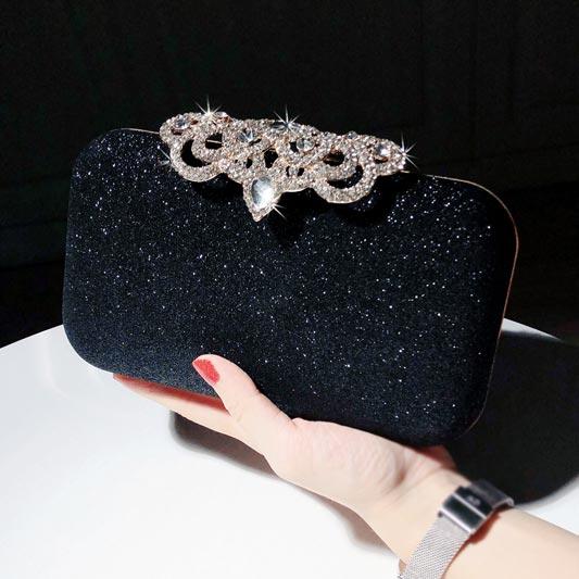 Women Crystal Clutch Beaded Rhinestone Purse Wedding Party Handbag (T08007)