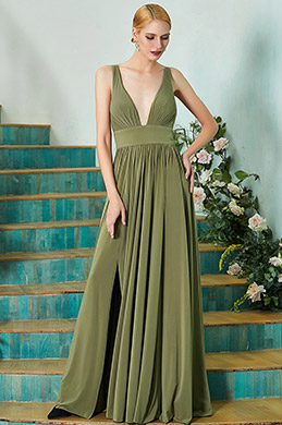 eDressit New Green V-Cut Bridesmaid Dress Evening Gown (07200355)