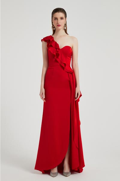eDressit Red One Ruffle Shoulder Slit Party Evening Dress (00201102)