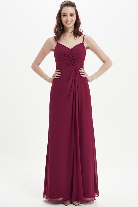 eDressit Burgndy Spaghetti Straps V-Cut  Long Bridesmaid Dress (07213417)