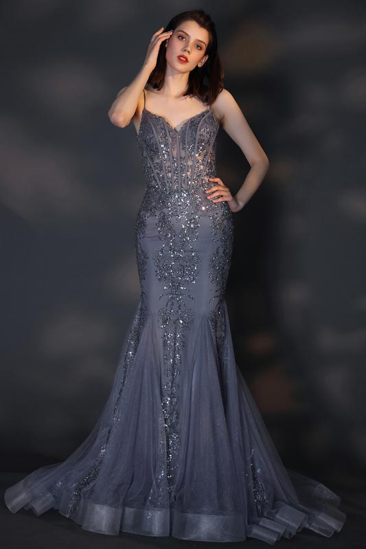 eDressit Sexy V-Cut Spaghetti Beaded Mermaid Party Evening Dress (02205205)