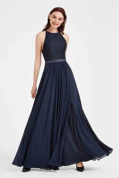eDressit Blue Halter Open Back Lace Party Evening Gown (00204105)