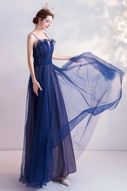 eDressit Blue Spaghetti Straps Shiny Tulle Evening Prom Dress (36227505)