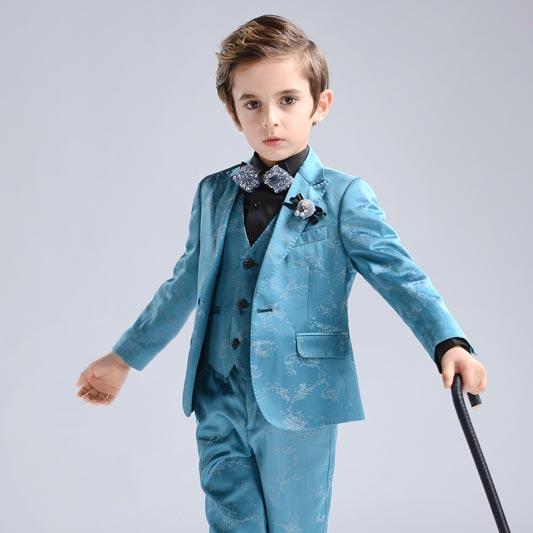 New Blue Formal 4 Pieces Kids Boys' Suits & Vests (T16009)