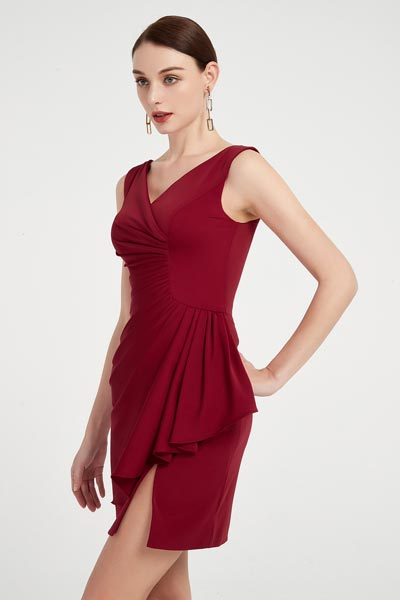 eDressit Sexy Burgundy V-cut Ruffle Hem Cocktail Party Dress (04200802)