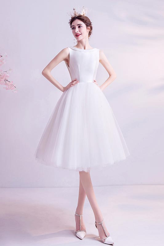 eDressit White Short Knee Length Tulle Cocktail Party Dress (35198907)