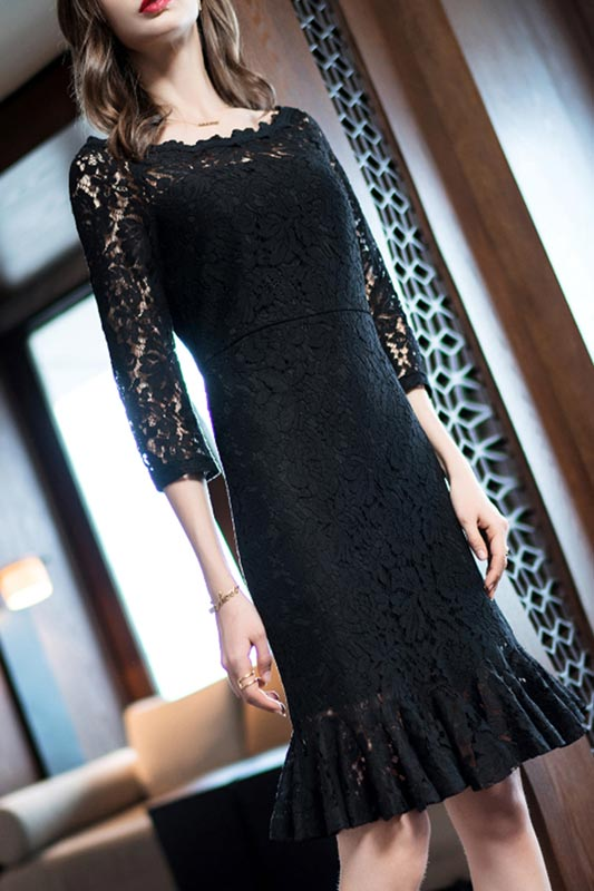 Black/Burgundy Elegant Sleeves Lace Appliques Party Dress (T000105)