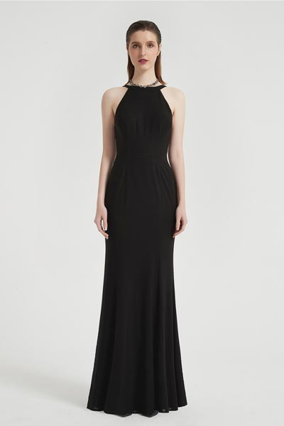 eDrerssit Sexy Black Halter Long Elegant V-Back Party Prom Dress (00204300)