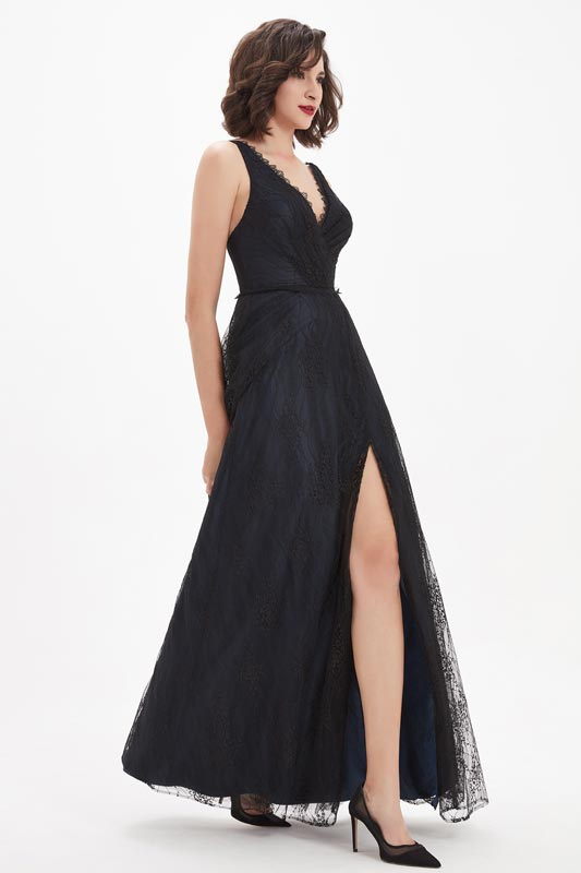 eDressit Sexy V-Cut Black Lace High Slit Ball Party Dress (00210800)