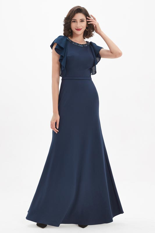eDressit Blue Beaded Neckline Ruffle Sleeves Party Ball Dress (02211405)